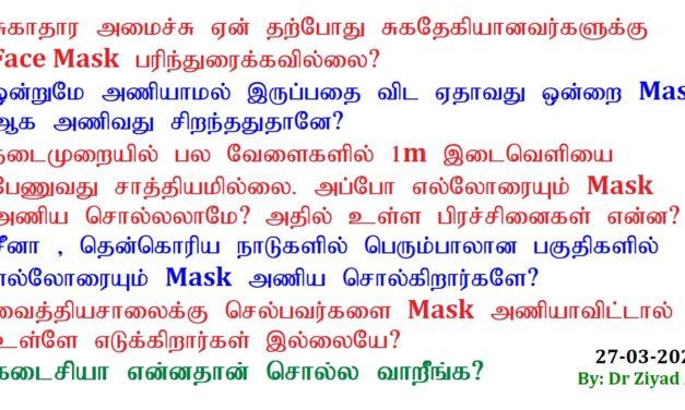 Face Masks குழப்பங்களுக்கான தெளிவூட்டல்